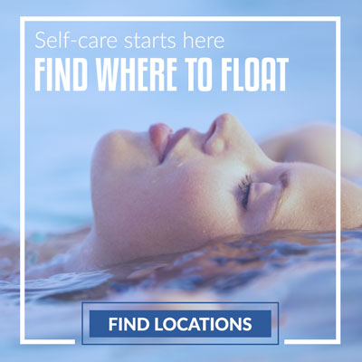 girl floats in sensory deprivation tank